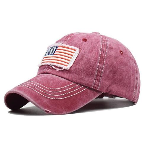 Hole Ponytail Baseball Cap USA Flag Trucker Hat