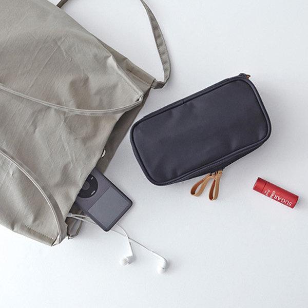 Elegant Black Duble Zipper Cosmetic Bag Travel Storage Bag