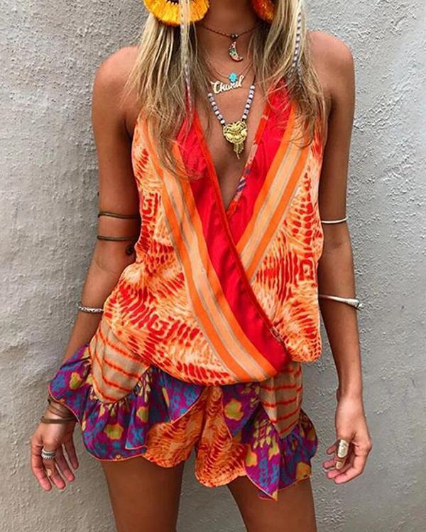 Beach Casual V Neck Sleeveless Printed Color Jumpsuit