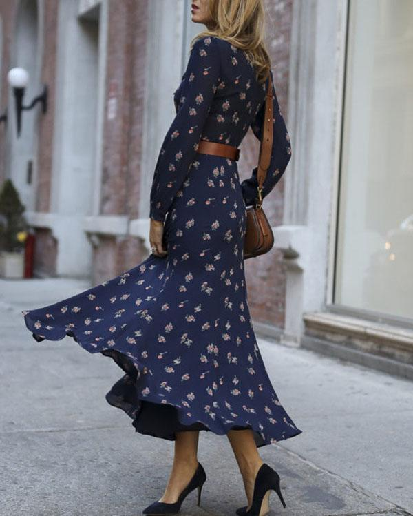 Casual Long Sleeve Printed Colour Elastic Maxi Dresses