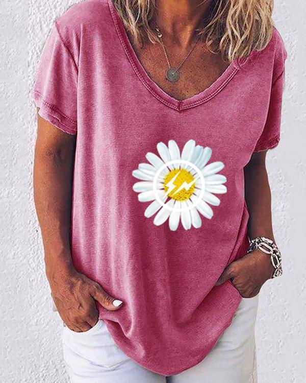 Daisy Print V-Neckline Short Sleeve Casual T-shirts