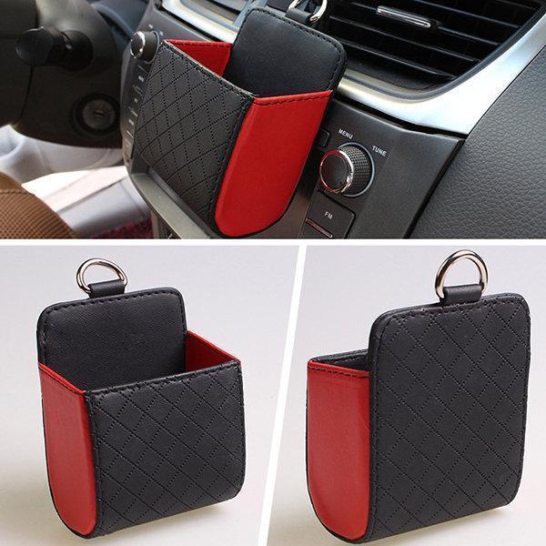 Faux Leather Color Multi-functional Car Debris Holder Phone Bag
