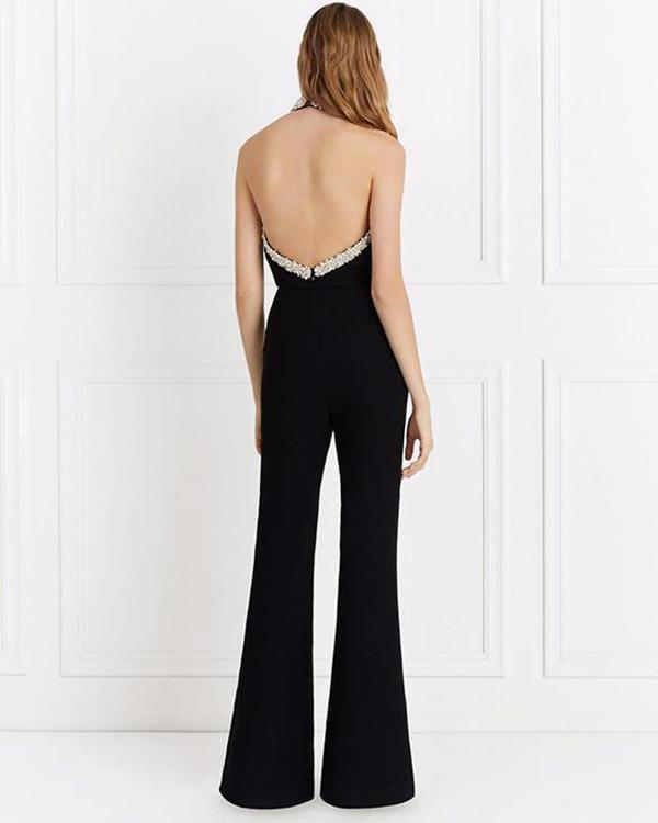Black-Silver Sequin Pockets Halter Neck Flare Bell Bottom Party Long Jumpsuit