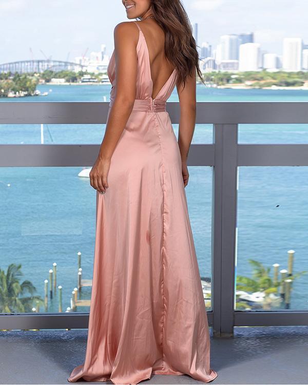 Fashion Strap Solid Color Beach Maxi Dress