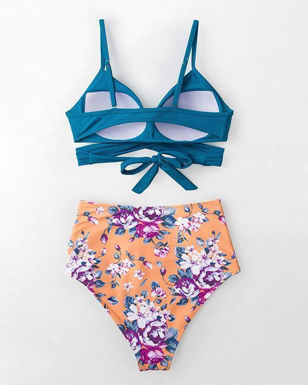 Blue And Floral High Waist Bikini Set