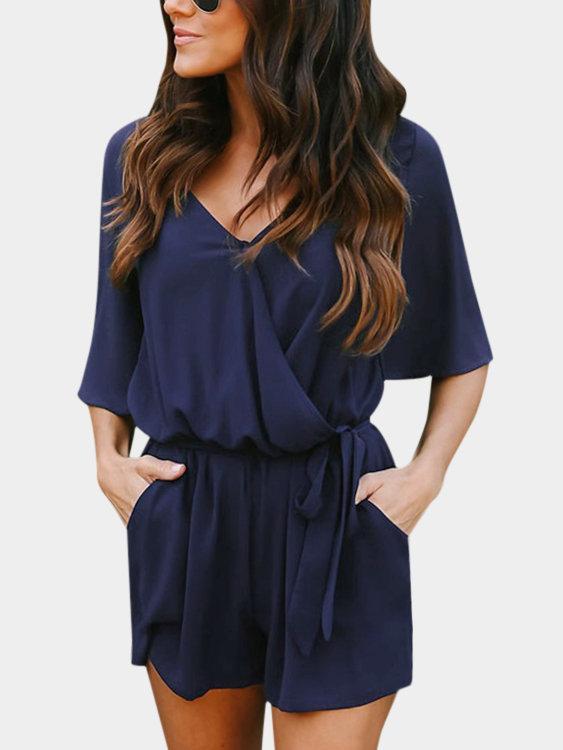 Crossed Front Design V-neck 3/4 Length Flared Sleeves High-waisted Playsuit Jumpsuit