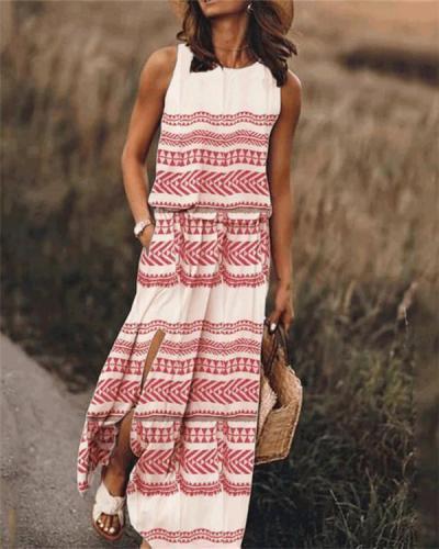 Printed Sleeveless Round Neck Holiday Daily Fashion Maxi Dresses