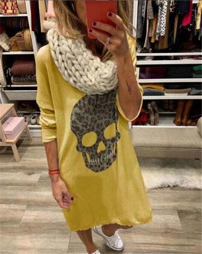 Plus Size Skull Longs Knitwear Skirt Mini Dress Tops