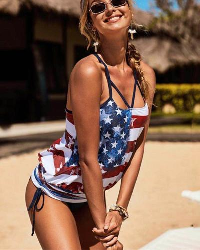 US Flag Star Stripe Print Sexy Split Bikini