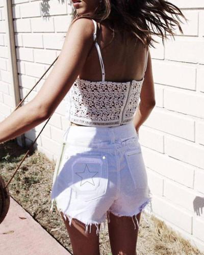 Pocket Star Embroidery Zipper Decor Ripped Shorts Jeans