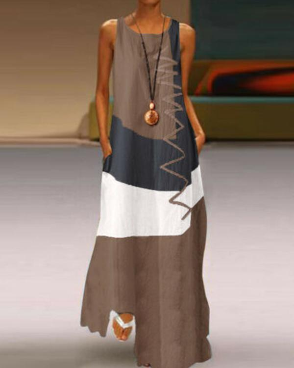 Women's Plus Size Maxi long Dress Sleeveless Color Block Print Dress