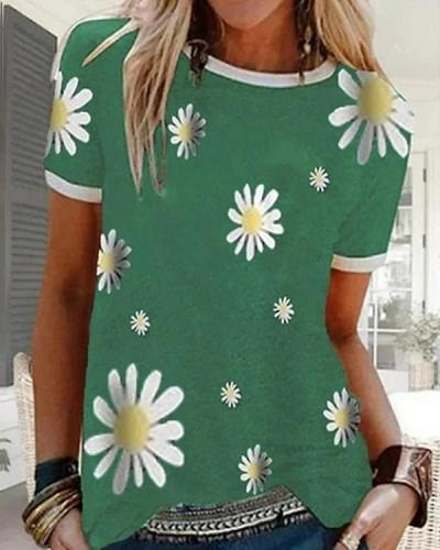 Women's Floral Graphic Prints Daisy T-shirt Daily Tops