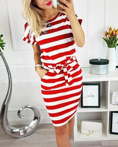 Short Sleeve Stripe Round Neck Lace-up Waist Casual Dress