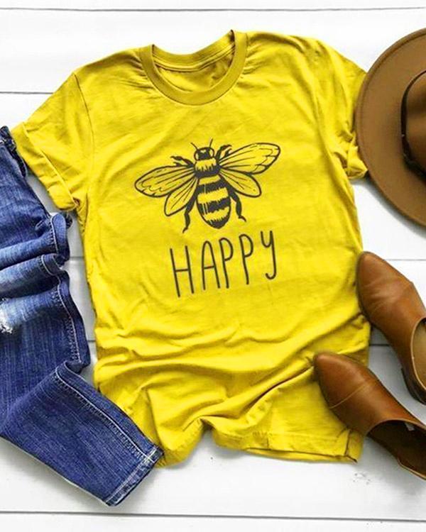 Plus Size Women Summer Tee Shirt Cotton Round Neck Bee Print T-shirts