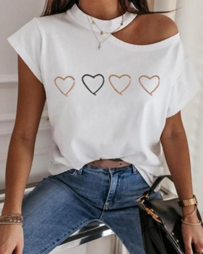 Print Cold Shoulder Short Sleeve T-shirt
