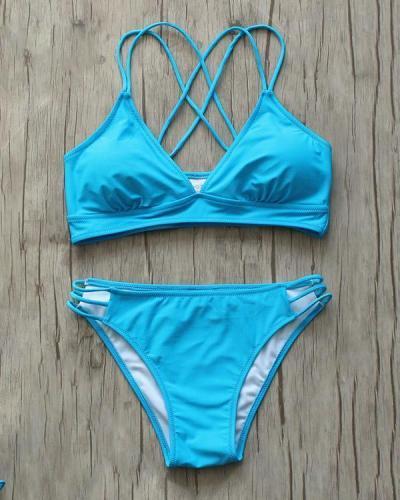 Lace Up Cross Bikini Swimsuit