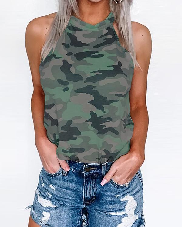 Camo Print Dew Shoulder Tank Top