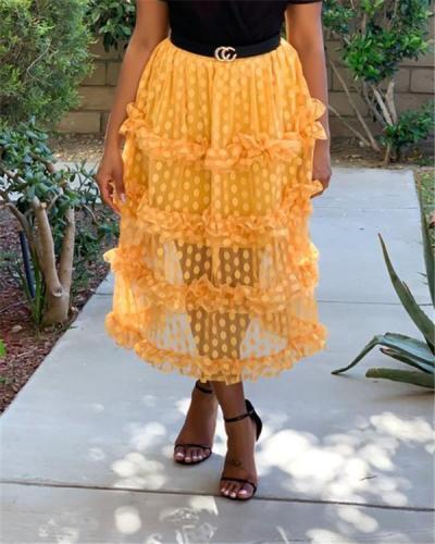 Chic Dot Printed Mesh Mid Calf Skirts