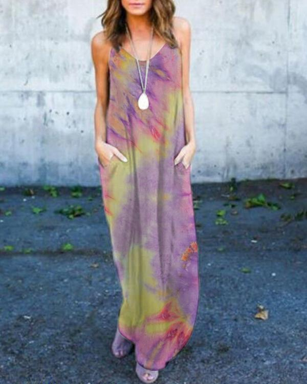 Tie-dye Maxi Dress With Pockets