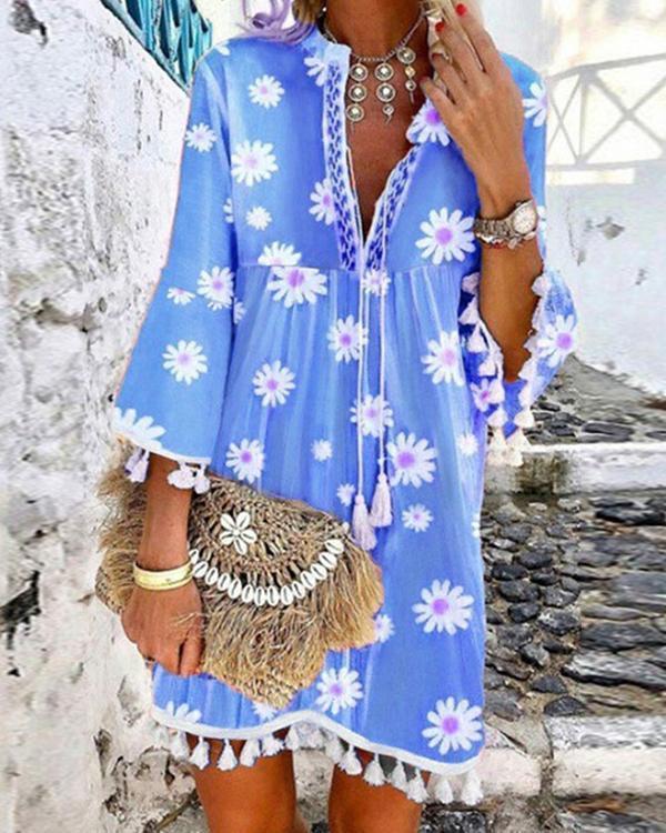 Women Boho Holiday Floral Tassel Sweet V Neck A-lined Mini Summer Dresses