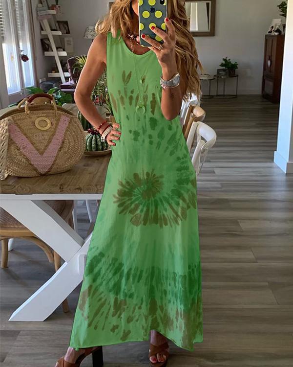 Sleeveless Gradient Print Crew Neck Holiday Maxi Dress