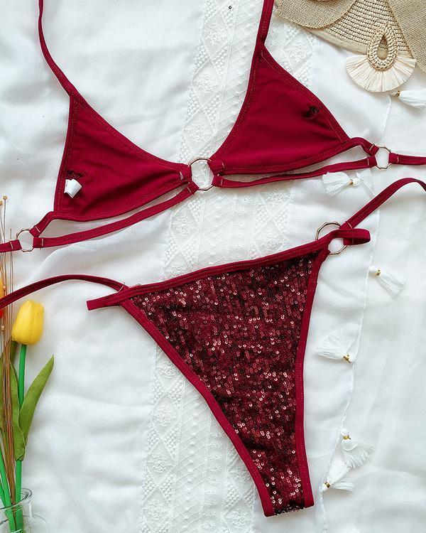 Sequined Bikini Strap Swimsuit
