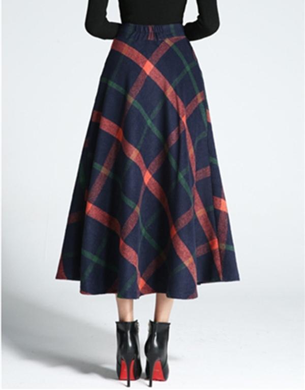 Women Woolen Plaid Thickening High Waist Skirts