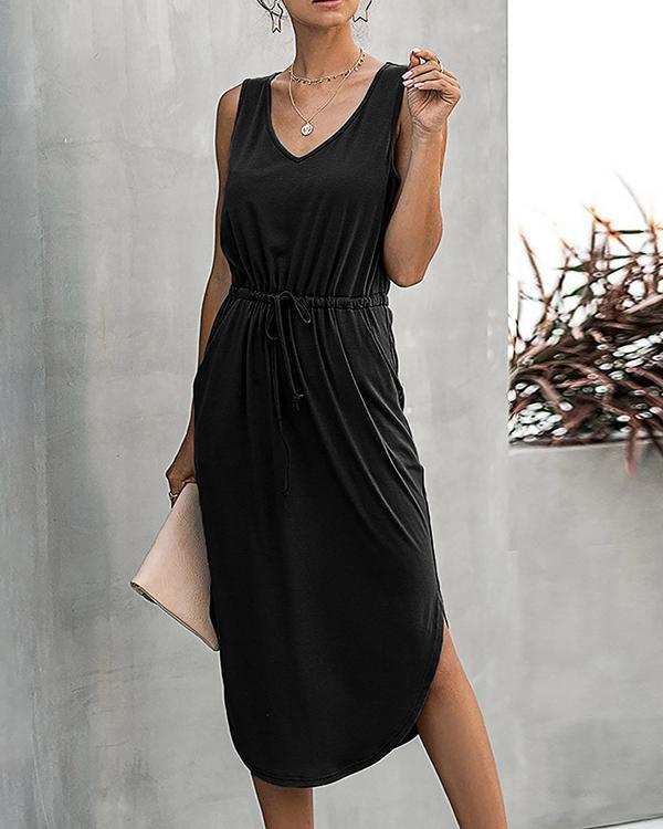 Lace-up Solid Color Midi Dress