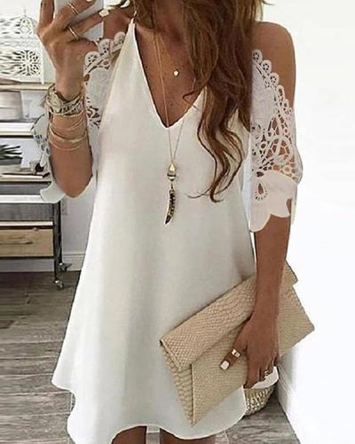Cold Shoulder Crochet Lace Hollow Out Casual Dress