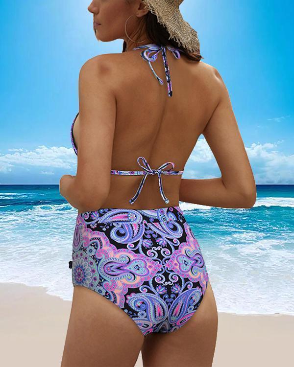 Halter Spaghetti Strap Cheetah Print Pom Pom Bikini Set