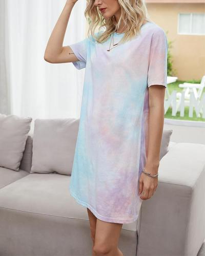 Loose Straight Pullover Ombre T-Shirt Mini Dress