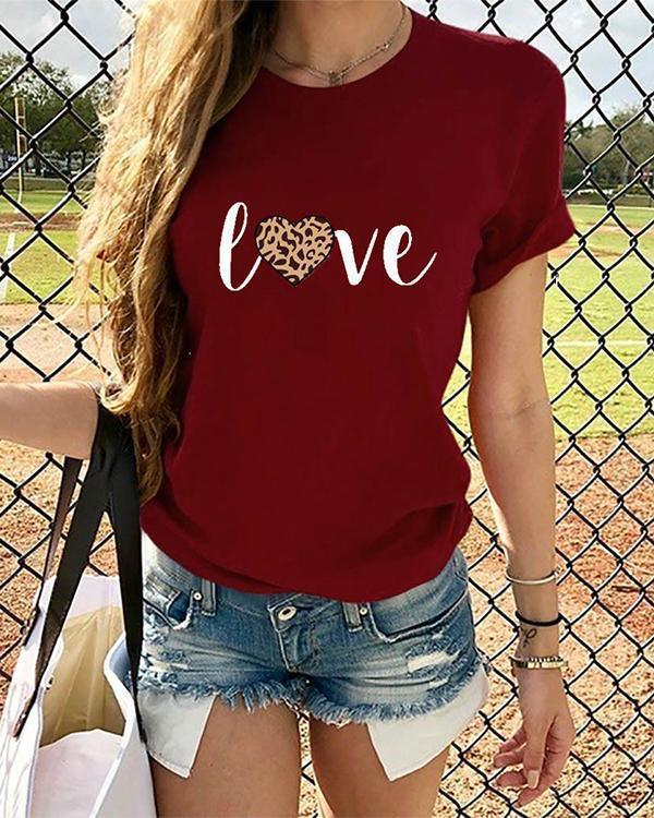 Love Heart  Women Short Sleeve Shirt Printed Leopard Tops