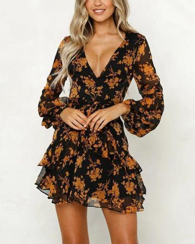Long Sleeves Printing Dress Mini Dress