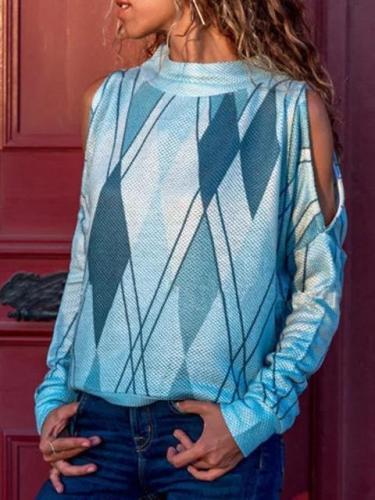 Long Sleeve Cold Shoulder Printed Geometric T-Shirts