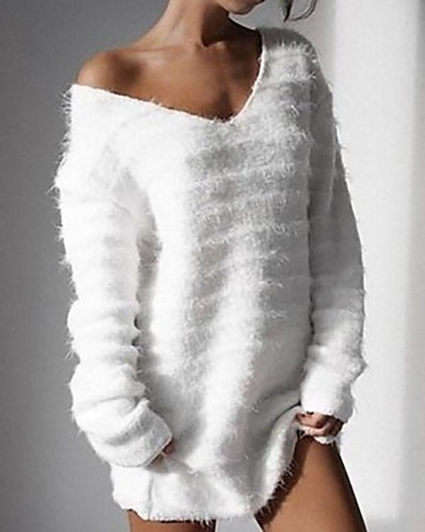 Long Sleeve V Neck Loose Sweater Dress Autumn Winter Casual Knit Pullover Tops