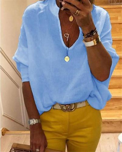 Loose Casual Solid Women Summer V Neck Holiday Daily Blouse