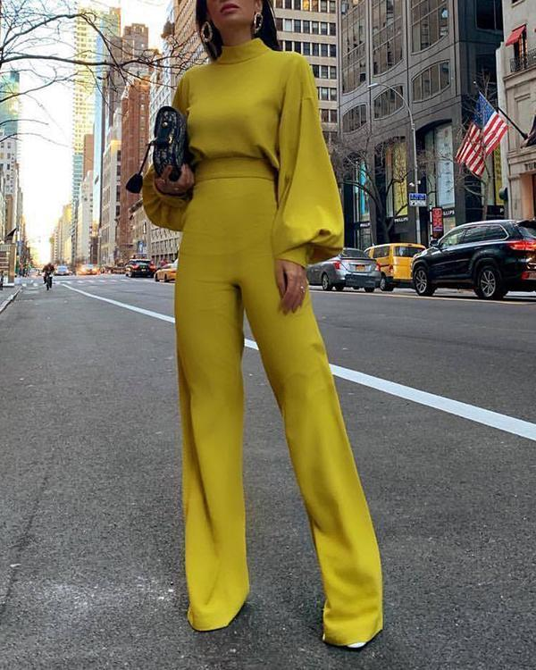 Long Sleeve Solid Elegant Jumpsuit