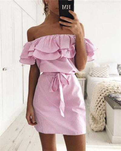 Lotus Edge Off Shoulder Women Striped Mini Dress