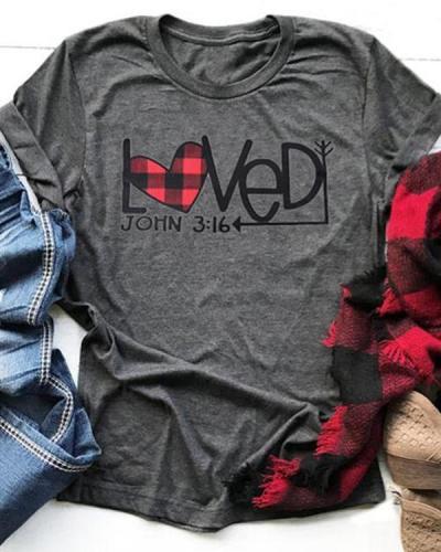 Loved John 3:16 Plaid Heart Arrow T-Shirt Tee