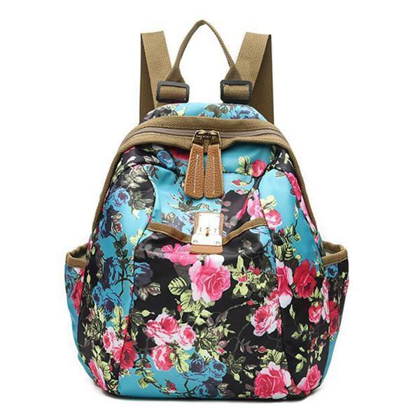 National Style Flower Pattern Nylon Shoulder Bag Backpack