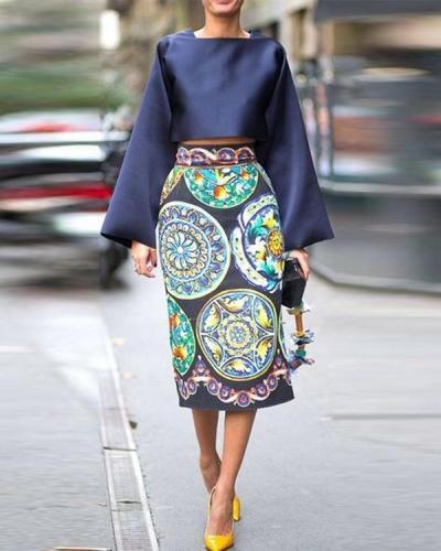New Fashionable Square Collar Vintage Blue Printed Dress Set