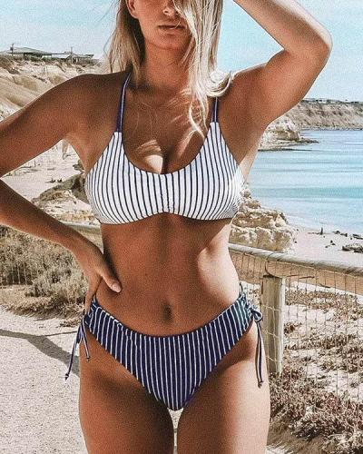 Navy And White Stripe Strappy Lace-up Bikini