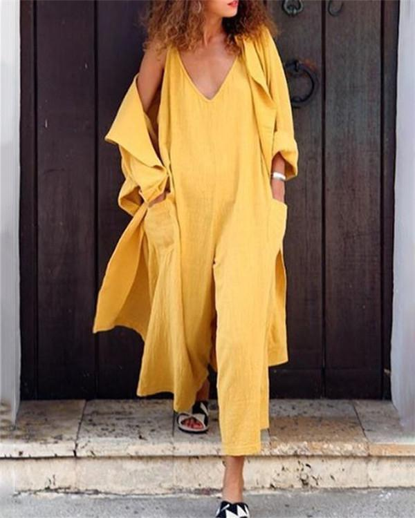 Sleeveless Solid Casual Loose  V Neck Daily Jumpsuits
