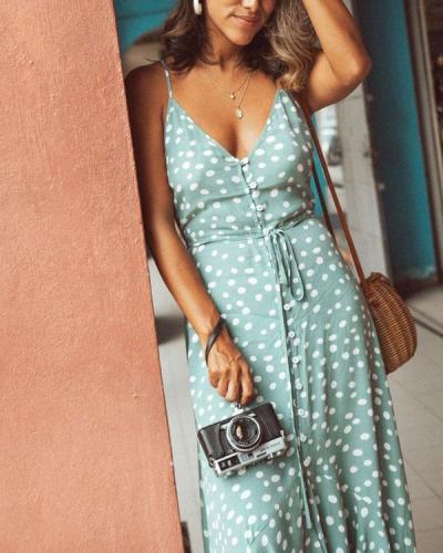Polka Dot Ruffled Printed Bohemian Dress