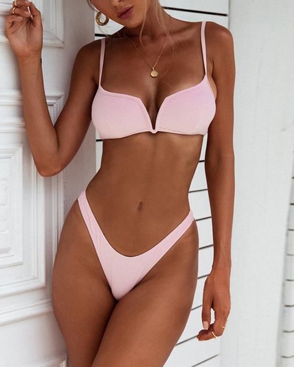 New Bikini Ladies Custom V Buckle With Chest Pad Sexy Swimsuit