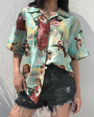 Modern Retro Angel Print Shirt