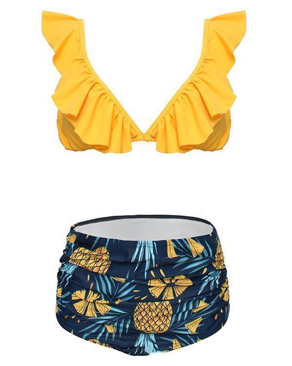 Ruffled High Waist Print Bikini Set