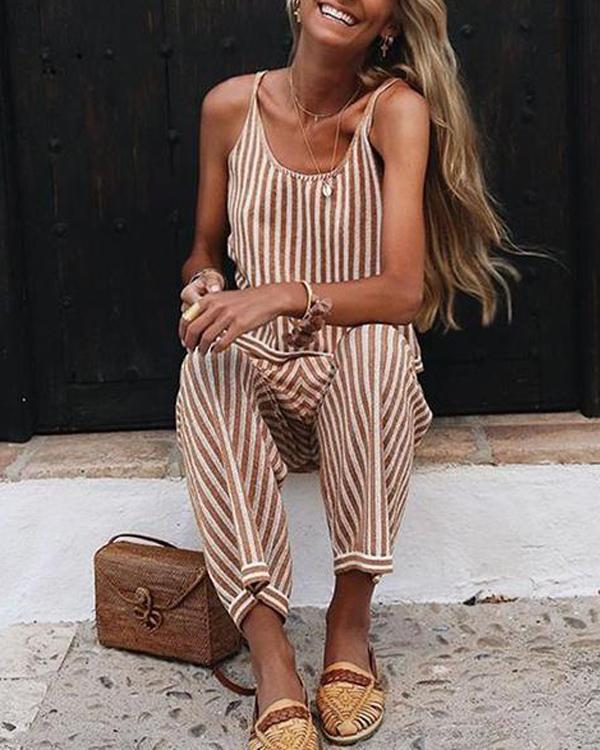 Sexy Fashion Sleeveless Striped Jumpsuit