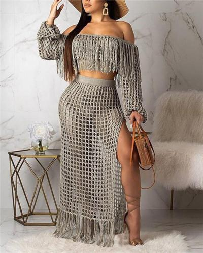 Sexy Hollow-out beach Two-piece Skirt Set