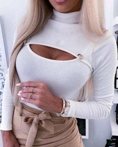 Sexy Button-down Turtleneck T-shirt